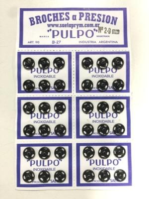 Broche PresiÓn Pulpo Nº 2 Negro Por 144 Unidades
