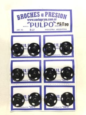 Broche PresiÓn Pulpo Nº 6 Negro Por 12 Unidades